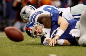 Manning Sacked Yet Again Against The Cowboys 300x196 New York Giants are Up and Down